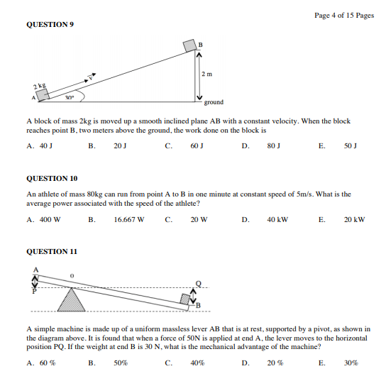 PNG Grade 12 Physics Exam Questions - Papua New Guinea